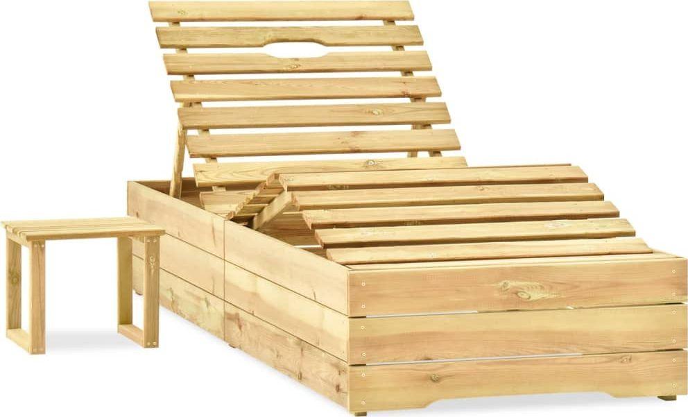 vidaXL Leżak ze stolikiem impregnowane na zielono drewno sosnowe 1