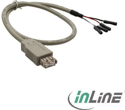 InLine Adapter USB A/4pin, 0.4m, Szary (33440B) 1