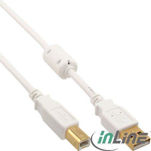 Kabel USB InLine Ferrytowy USB A/B, 2m, Biały (34518W) 1