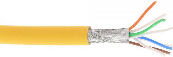 InLine Kabel instalacyjny S/FTP, PiMF, Cat.6A, halogen free, 500MHz, żółty 100m (76899Y) 1