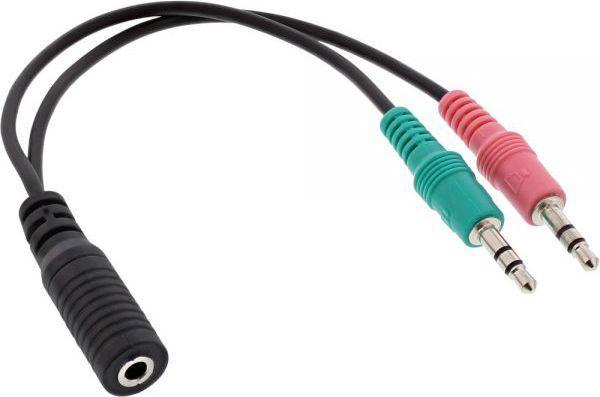 Kabel InLine Jack 3.5mm - Jack 3.5mm x2 0.15m czarny (99312A) 1