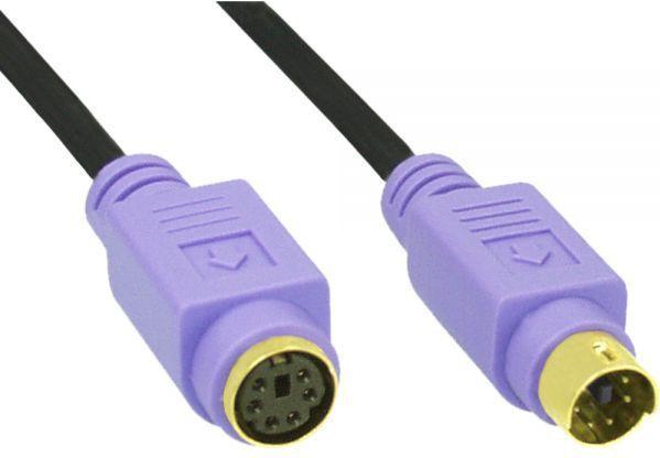 InLine Kabel przedłużacz PS/2 męski - żeński czarny, fioletowe złącza, pozłacany 5m (13345W) 1