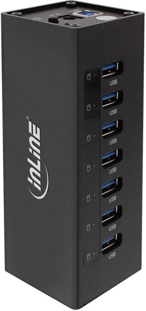 HUB USB InLine USB 3.0 Aktywny 7 Portowy Aluminium z zasilaczem 35395B 1