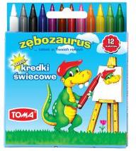 Toma Kredki świecowe Trójkątne 12kol Zębozaurus (TO-559 82) 1