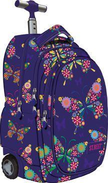 xxxxxxxxx Plecak na kółkach fioletowy w kwiaty Street Butterfly 1