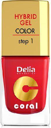 Delia Cosmetics Coral Hybrid Gel Emalia do paznokci nr 01 czerwony 11ml 1