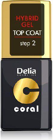 Delia Cosmetics Coral Hybrid Gel Emalia do paznokci Top Coat 11ml 1