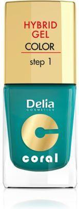 Delia Cosmetics Coral Hybrid Gel Emalia do paznokci nr 10 metaliczna zieleń 11ml 1