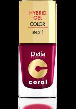 Delia Coral Hybrid Gel Emalia do paznokci nr 12 bordowy 11ml 1