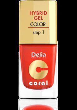 Delia Cosmetics Coral Hybrid Gel Emalia do paznokci nr 14 pomarańczowa czerwień 11ml 1
