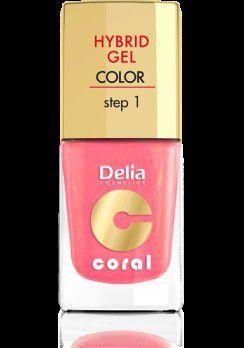 Delia Cosmetics Coral Hybrid Gel Emalia do paznokci nr 16 ciepły średni róż 11ml 1