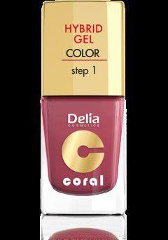 Delia Cosmetics Coral Hybrid Gel Emalia do paznokci nr 18 marsala 11ml 1