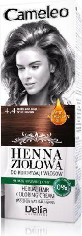 Delia Cosmetics Cameleo Henna Ziołowa nr 4.4 korzenny brąz 75 g 1