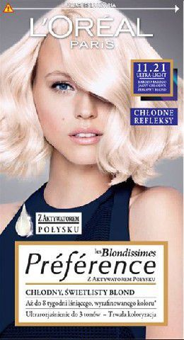L'Oreal Paris Farba Recital Preference 11.21 Bardzo Bardzo Jasny Chłodny Perłowy Blond 1