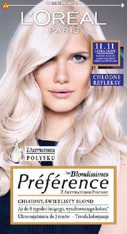 L'Oreal Paris Farba Recital Preference 11.11 Bardzo Bardzo Jasny Chłodny Kryształowy Blond 1
