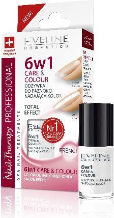 Eveline Nail Therapy Lakier odżywka 6w1 Care & Colour French 5ml 1