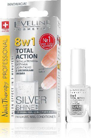 Eveline Nail Therapy Lakier odżywka Total Therapy 8w1 Silver Shine 12ml 1