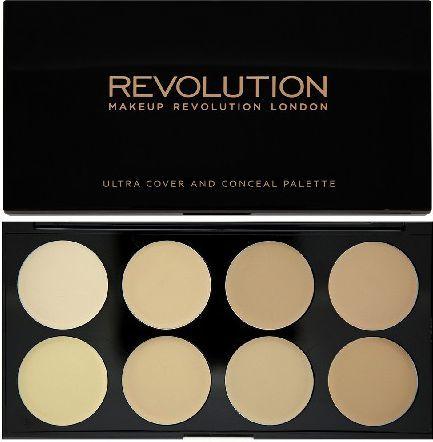 Makeup Revolution Ultra Cover and Concealer Palette Korektory Light 10g 1