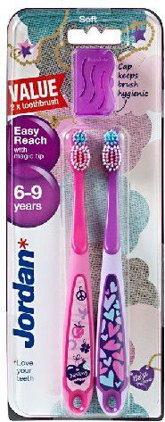 Jordan  Szczoteczka do zębów DUO Easy Reach dla dzieci (6-9 lat) miękka 1 op-2szt 1
