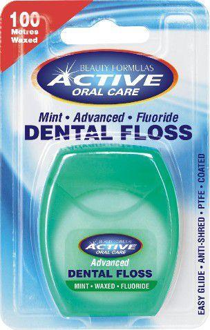 Active  Oral Care Nić dentystyczna udoskonalona miętowa woskowana z fluorem - 722035 1