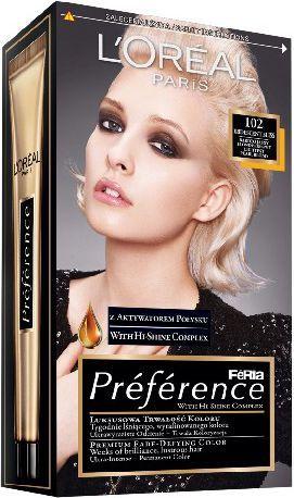 L'Oreal Paris Feria Preference Bardzo Jasne Blondy Bardzo Jasny Blond Perłowy 102 1