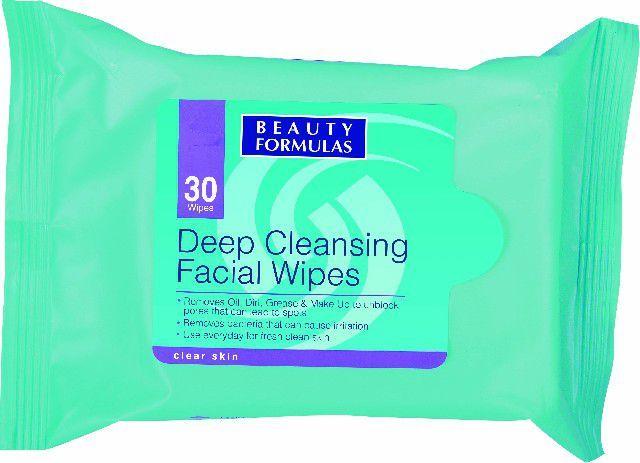 Beauty Formulas Skin Care Głęboko oczyszczające chusteczki do twarzy 1