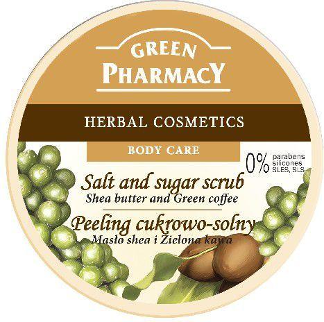 Green Pharmacy Peeling cukrowo solny Masło Shea, Zielona herbata 300ml 1