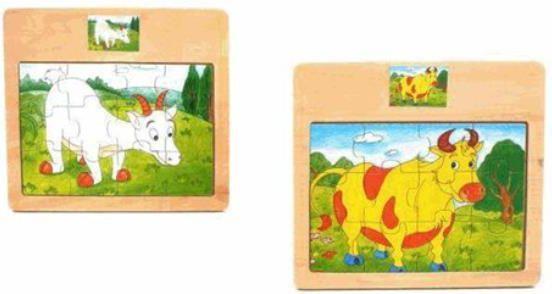 Brimarex Puzzle drewniane ze zwierzętami - 1520463 1