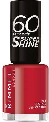 Rimmel  lakier 60 Seconds Super Shine Nail Polish 8ml 310 Double Decker Red 1
