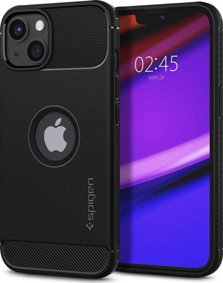 Spigen Spigen Rugged Armor etui pokrowiec do iPhone 13 pancerna obudowa czarny matowy 1