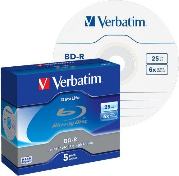 Verbatim 1x5 BD-R Blu-Ray 25GB 6x Speed Datalife No-ID Jewel (43836) 1
