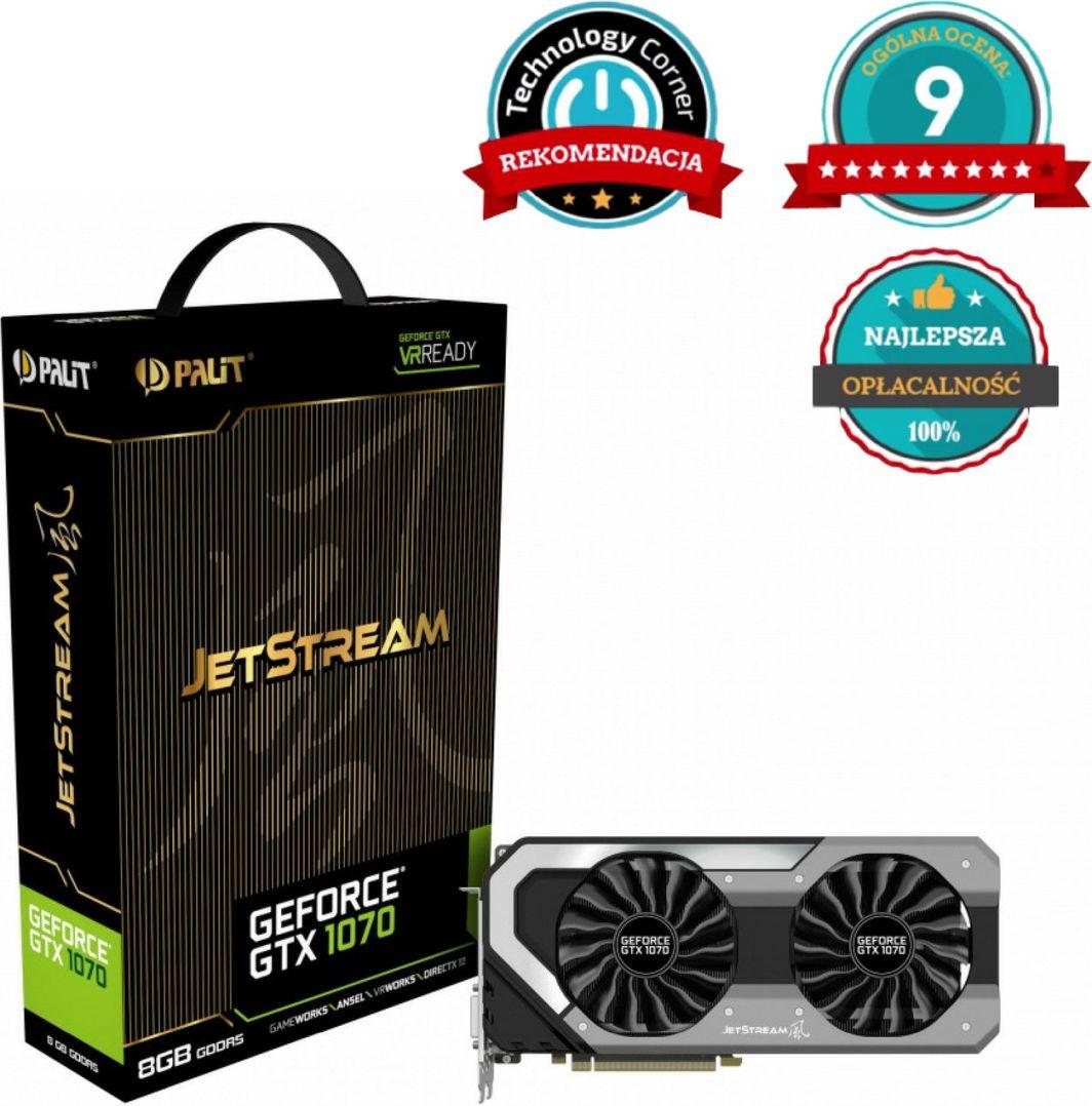 Karta graficzna Palit GeForce GTX 1070 JetStream 8GB GDDR5 (256 bit) HDMI, DVI, 3x DP, BOX (NE51070015P2J) 1