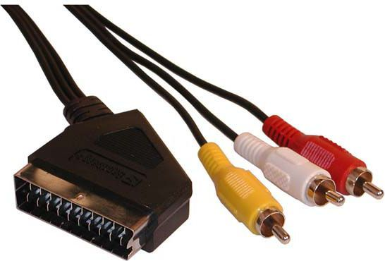 Kabel Scart - RCA (Cinch) x3 5m czarny 1