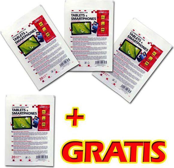 Logo ręczniki/chusteczki, na tablet, smartphone, opakowanie zamykane, 20 szt. 3+1 GRATIS 1