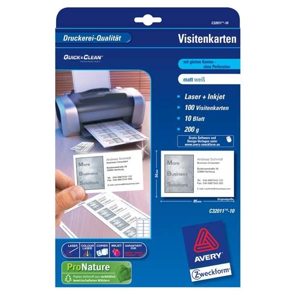 Avery Zweckform Wizytówki Białe Matowe A4 200 G M2 85x54mm 10 Arkuszy Id Produktu 945739