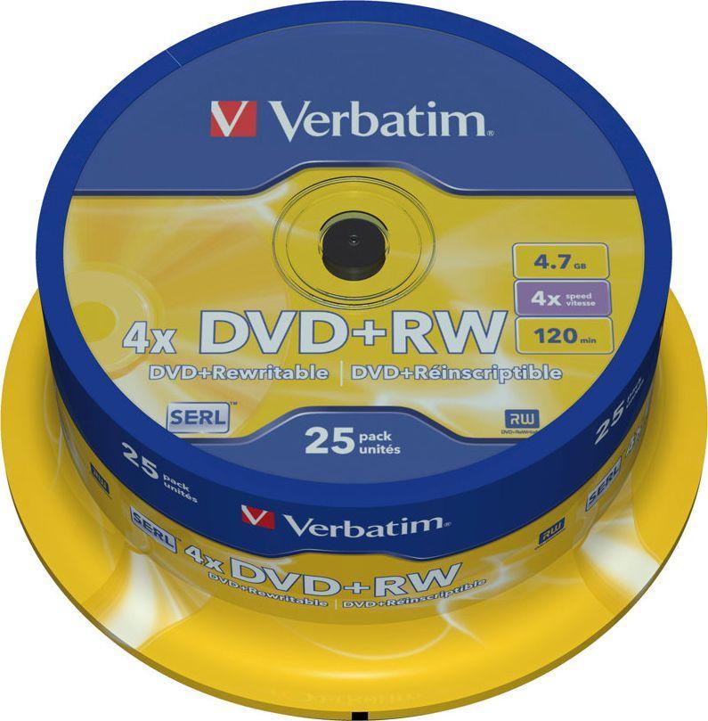Verbatim DVD+RW 4.7 GB 4x 25 sztuk (43489) 1