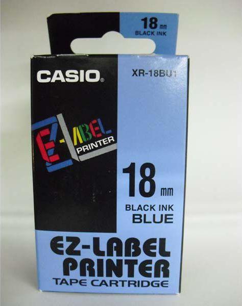 Casio Taśma XR-18BU1, czarny druk/niebieski podkład, nielaminowany, 8m, 18mm 1