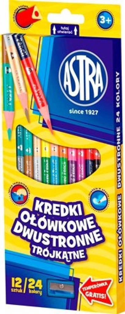 Astra Kredki ołówkowe trójkątne dwustronne 24 kolory 1