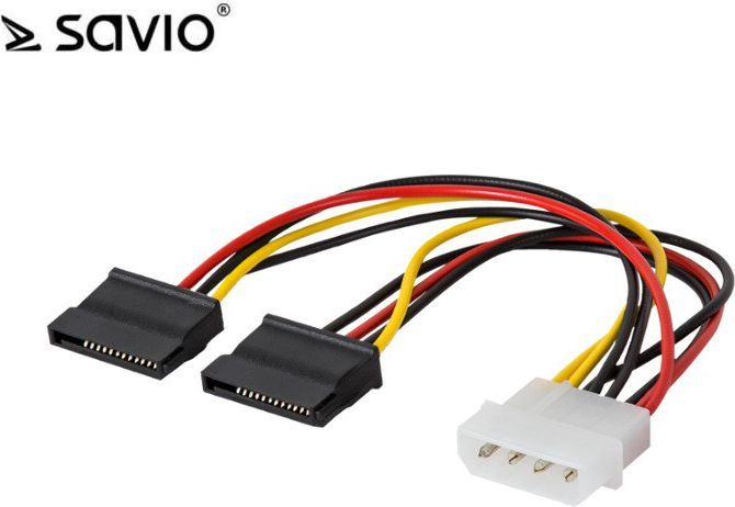 Elmak adapter Y, Molex 4 pin M - 2x SATA 15 pin (SAVIO AK-13) 1