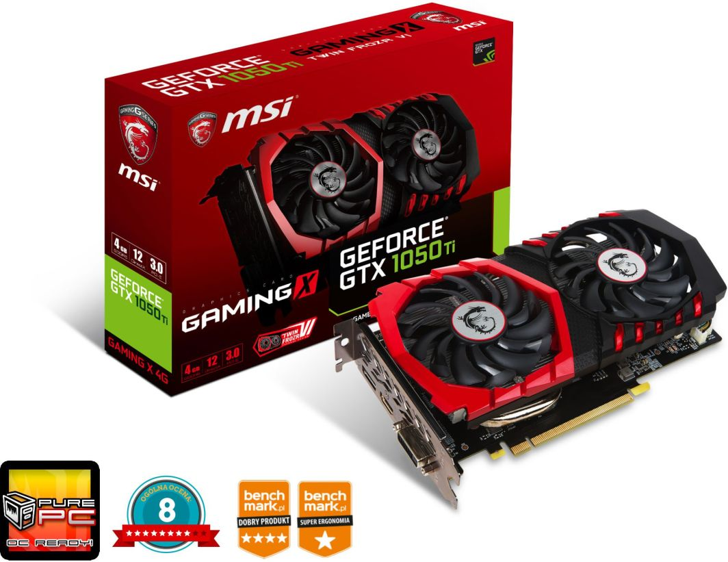 Karta graficzna MSI GeForce GTX 1050Ti Gaming X 4GB GDDR5 (GTX 1050 Ti GAMING X 4G) 1