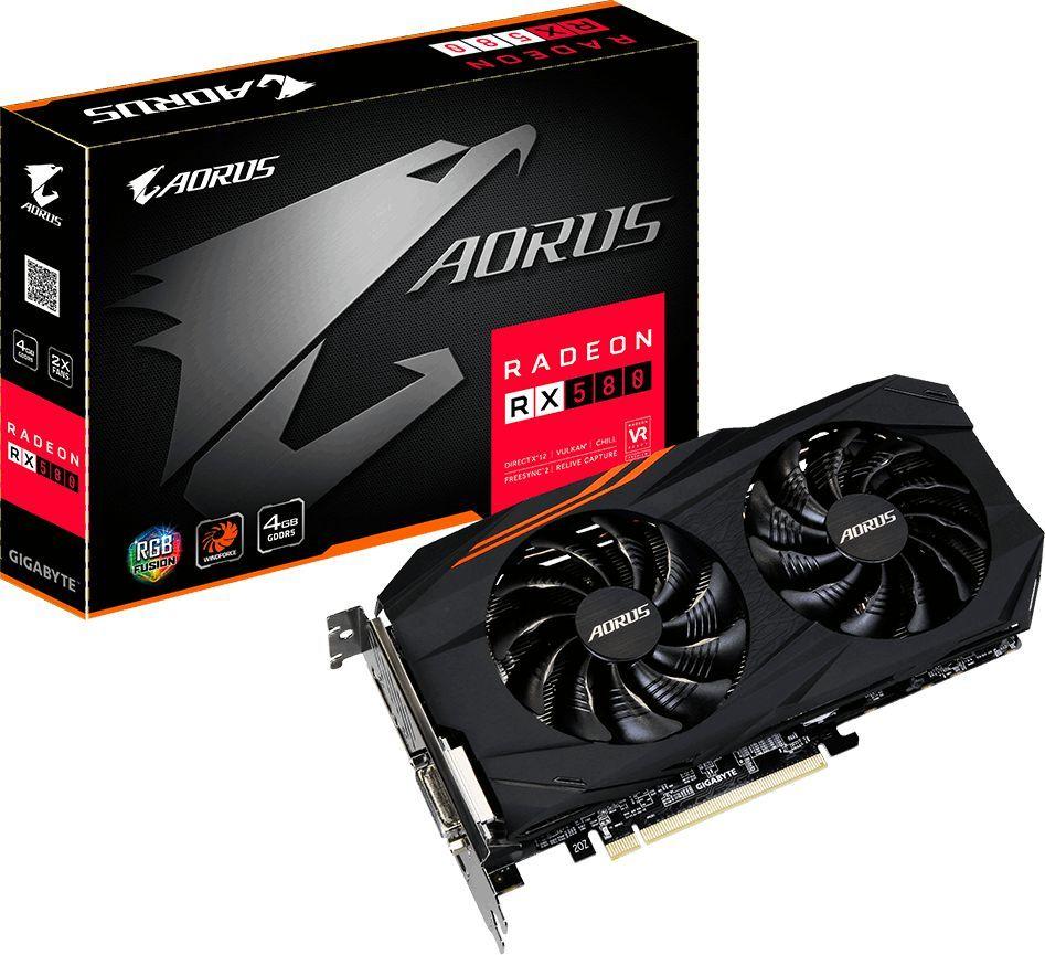 Karta graficzna Gigabyte Radeon RX 580 AORUS 4GB GDDR5 (256 bit), DVI-D, HDMI, 3xDisplayPort, BOX (GV-RX580AORUS-4GD) 1