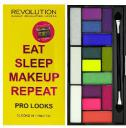 Makeup Revolution Pro Looks Palette 15 Zestaw cieni do powiek Eat Sleep Makeup Repeat (15 kolorów) 13g
