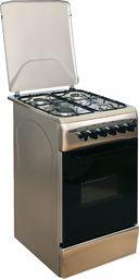 Piekarnik z płytą gazową Klass Klass TEE-5640 X Freestanding oven, 4 top burners with FFD, With fan, 1 tray+1 grid in the oven, Double glass oven door, With dishwarmer, Metal top lid, 50x60, Inox - TEE-5640-INOX