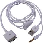 Kabel USB MicroConnect USB A/Apple 30pin + Jack, Biały, 1.2m (IP1001)