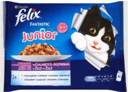 Purina FELIX FANTASTIC MP JUNIOR KURCZAK, ŁOSOŚ (4X100G)