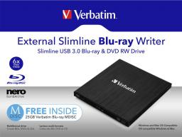 Napęd Verbatim Zewnętrzna nagrywarka Blu-ray Slimline USB 3.0 (43890)