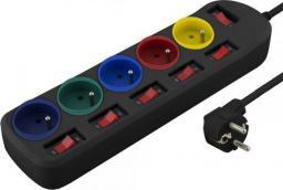 Listwa zasilająca Esperanza Rainbow Pro przeciwprzepięciowa 5 gniazd 1.5m czarny (ELK101K - 5901299935026)