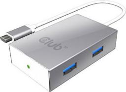 HUB USB Club 3D USB-C - 4x USB-A Srebrny (CSV-1541)