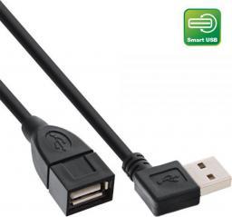 Kabel USB InLine Smart kątowy + odwracalny Typ A męski - żeński czarny 0.2m (34602R)
