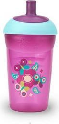 Tommee Tippee Bidon 360 ml w kolorze różowym +smoczek+butelka+wkładki jednorazowe (TT0131)